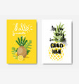 set hello summer pineapple badge isolated vector image vector image