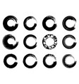 set of black ink round brush stroke on white vector image vector image