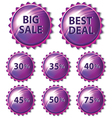 Set of purple stickers on white background vector image vector image