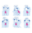 set young girl emotions doodle hand draw vector image