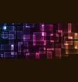 shiny neon design square shape abstract background vector image vector image