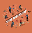 shoe work shop isometric flowchart vector image vector image