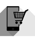 shopping on smart phone sign black icon vector image vector image
