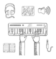 Sound recording and music icons sketch vector image
