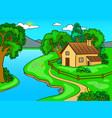 summer landscape pop art vector image vector image
