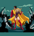 superhero couple back to back vector image