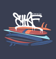 surf board with lettering type t-shirt design vector image vector image