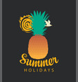 travel summer banner with pineapple sun and gull vector image vector image