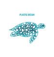 turtle stop ocean plastic pollution concept vector image vector image