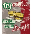 Vintage poster of two stemware with tequila vector image vector image