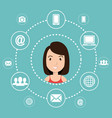 woman avatar with social network icons vector image vector image
