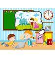 Boy and girl working in the classroom vector image