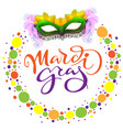 carnival mardi gras mask and colored confetti vector image
