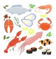 Selection of seafood shrimp and sushi icons vector image