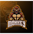 angry monkey face mascot logo design vector image
