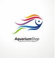 aquarium shop artistic logo design vector image vector image