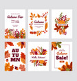 autumn foliage posters fall discount and special vector image