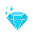 blue diamond simple icon with sparkles luxury vector image