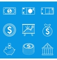 Blueprint icon set Money vector image