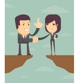 Business woman and man in front of a gap vector image vector image
