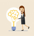 business woman hugs a big lightbulb brain big vector image