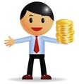 Businessman holding money vector image vector image