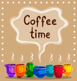 Card with a cup of hot coffee vector image vector image