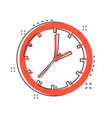 cartoon clock timer icon in comic style time sign vector image
