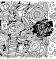 cartoon doodles tea time frame detailed vector image