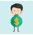 cartoon with money in flat design vector image vector image