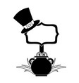 cauldron gold coins black hat and sing board vector image vector image