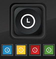 clock icon symbol Set of five colorful stylish vector image vector image