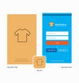 company shirt splash screen and login page design vector image
