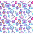 cosmetics supply seamless pattern background vector image vector image
