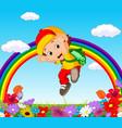 cute boy in a flower garden with rainbow vector image