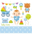 Cute cartoon baby boy set vector image vector image