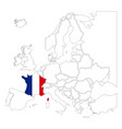 detailed france silhouette with national flag on vector image