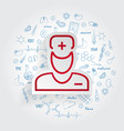 doctor icon on handdrawn healthcare doodles vector image