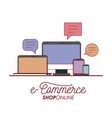 e-commerce shop online set tech elements on white vector image vector image