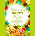 easter egg wreath cartoon festive poster design vector image vector image