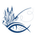 fish and fishing rod due to reeds vector image