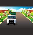 garbage truck picking up trash vector image