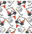 golf club car sport and flag ball seamless pattern vector image vector image