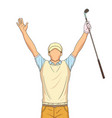 golf player celebrating on a white background vector image