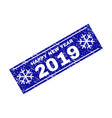 happy new year 2019 grunge rectangle stamp seal vector image vector image