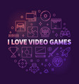i love video games round colorful outline vector image vector image