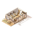 isometric low poly coffee shop vector image