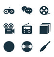 multimedia icons set with radio joystick jack vector image