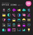 office 1 linear icons collection vector image vector image