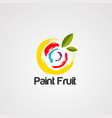 paint fruit logo icon element and template vector image